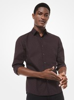 Michael Kors Slim-Fit Polka Dot Stretch-Cotton Shirt