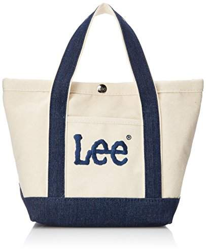 Lee (リー) - [リー] トートバッグ ミニ 厚手コットンキャンバス(帆布) Leeビッグロゴ刺繍 ホワイトボディ×ネイビー