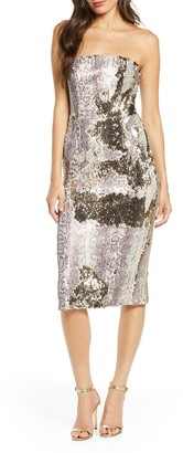 Dress the Population Snake Print Sequin Tube Dress