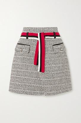 Maje Belted Metallic Cotton-blend Tweed Mini Wrap Skirt