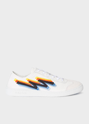 Men's White Leather 'Flash' Embroidered 'Ziggy' Trainers