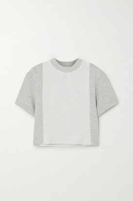 Twenty Montreal Sunnyside Cropped Paneled Melange Cotton-blend Terry T-shirt