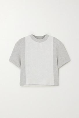 Twenty Montreal Sunnyside Cropped Paneled Melange Cotton-blend Terry T-shirt - Gray