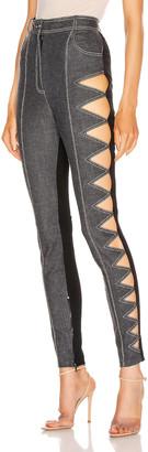 David Koma Zig Zag Cutout Denim Legging in Grey | FWRD