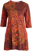 Aller Simplement Brown & Orange Floral A-Line Dress - Plus Too