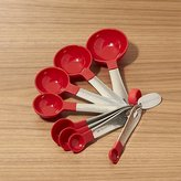Crate & Barrel Set of 8 Stainless Steel and Red Nylon Measuring Spoons