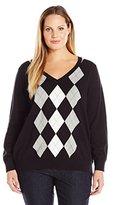 Caribbean Joe Women's Plus-Size Long-Sleeve Argyle V-Neck Sweater