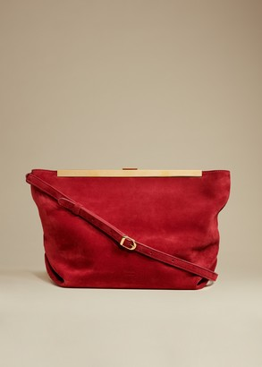 KHAITE The Augusta Crossbody Bag in Deep Rose Suede