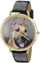Whimsical Watches Great Dane Black Leather and Goldtone Photo Unisex Quartz Watch with White Dial Analogue Display and Multicolour Leather Strap N-0130080
