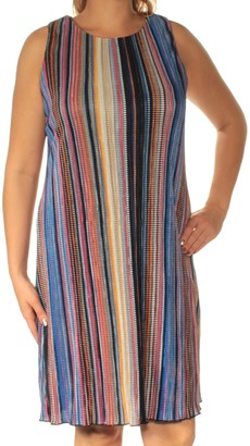 Ronni Nicole Women's Sleevless Bodre Stripe Shift
