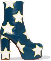 Vetements Appliquéd Leather Platform Ankle Boots - Navy