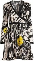 Etro Zebra & Floral Silk Wrap Dress