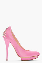 McQ by Alexander McQueen Pink Studded Leather Pointed Pumps