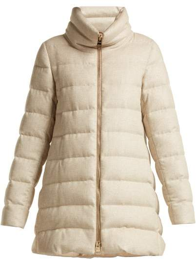 Herno Funnel Neck Quilted Down Mid Length Coat - Womens - Beige