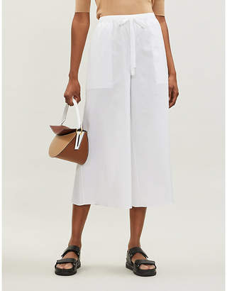 Theory Drawstring-waistband high-rise stretch-cotton trousers