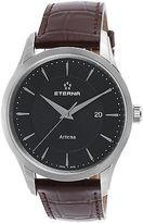 Eterna 2520-41-41-1259 Men's Artena Brown Genuine Leather Black Dial