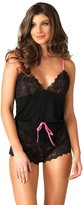 Leg Avenue Women's Seraphina By Jersey and Lace Romper, Black/Neon Pink