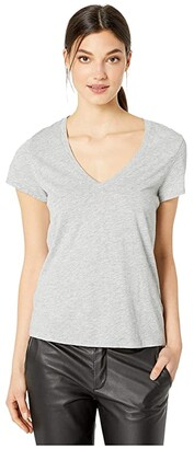 Splendid Kate Short Sleeve Modal Jersey V-Neck Tee (Heather Grey) Women's T Shirt