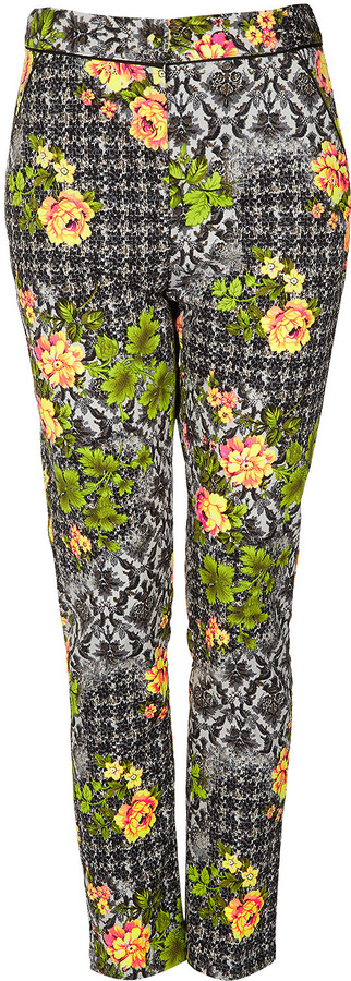 Topshop Tall Acid Leaf Floral Trousers