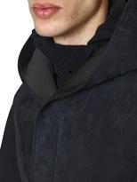 Giorgio Armani Hooded Suede And Neoprene Leather Jacket