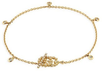 Gucci Running GG Logo 18K Yellow Gold & Diamond Charm Bracelet