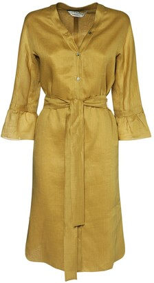 Max Mara 'S Canvas Kaftan Midi Dress W/Self-Tie Belt