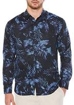 Cubavera Men's Long-Sleeve 100% Linen allover Tropical Print Shirt