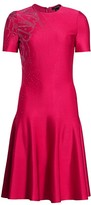 St. John Liquid Milano Knit Embellished Fit-&-Flare Dress