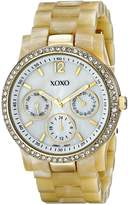 XOXO Women's XO5521 Plastic Horn Bracelet with Rhinestones on Gold Case Watch
