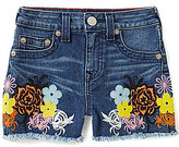 True Religion Big Girls 7-16 Joey Floral Patch Embroidered High-Waisted Cutoff Denim Shorts