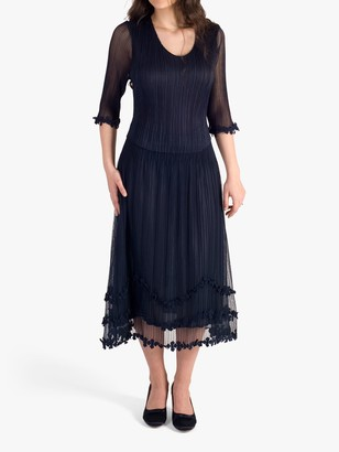 Chesca Sheer Midi Dress, Navy