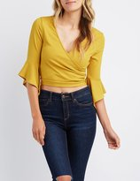 Charlotte Russe Ribbed Bell Sleeve Wrap Top