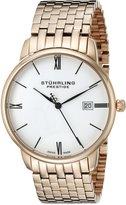 Stuhrling Original Men's 307B.33442 Prestige Swiss Made Kingston Grand Quartz Date Ultra Slim Rose Tone Bracelet Watch
