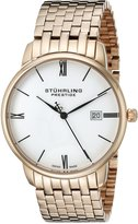Stuhrling Original Original Prestige Men's 307B.33442 Swiss Made Kingston Grand Quartz Date Ultra Slim Rosetone Bracelet Watch