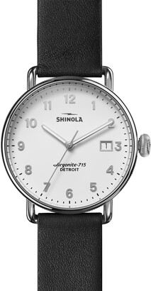 Shinola Women's Watch: Canfield 3HD Black Leather Strap Watch, 38mm