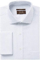 Tasso Elba Men's Classic/Regular Fit Non-Iron White Blue Diamond Print French Cuff Dress Shirt, Created for Macy's