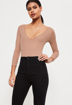 Missguided Tall Nude V-Neck Ribbed Long Sleeve Bodysuit