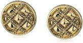 House Of Harlow Gold Phoebe Quilted Button Stud Earrings