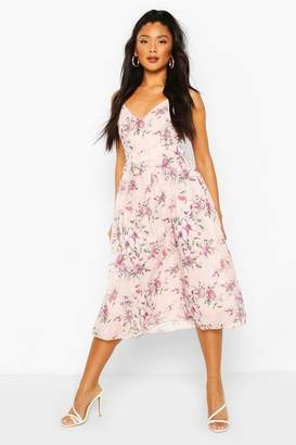 boohoo Floral Print Bow Back Chiffon Midi Dress