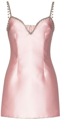 Area Crystal Embellished Mini Dress