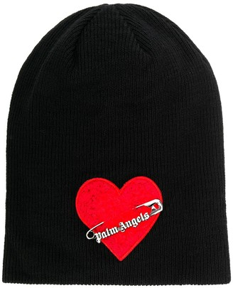 Palm Angels heart safety pin hat