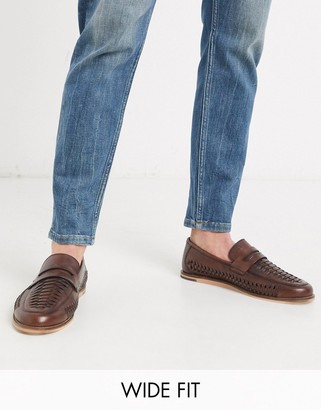 Silver Street wide fit sand woven leather loafter in brown