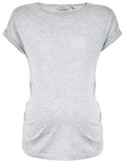 Dorothy Perkins Womens **Maternity Grey Roll Sleeve Cotton Tee, Grey