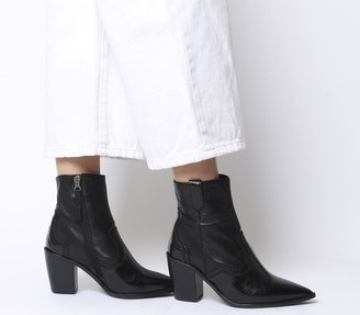 Office Attacked Western Point Block Heels Black Leather Mix
