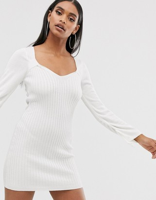 ASOS DESIGN knit mini dress with square neck and ruched sleeve detail