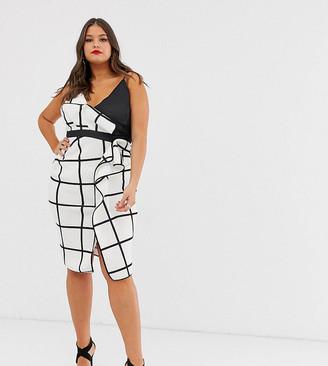 ASOS DESIGN Curve mono grid check waterfall midi pencil dress