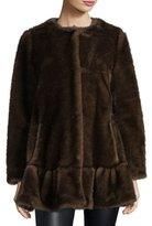 Kate Spade Faux Fur Coat With Flounce Hem