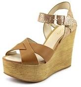 Aldo Regnano Women Open Toe Leather Tan Wedge Sandal.