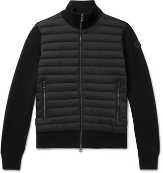 Moncler Slim-Fit Panelled Cotton-Blend And Quilted Shell Down Zip-Up Sweater