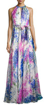 Carmen Marc Valvo Sleeveless Abstract Floral Silk Gown, Blue